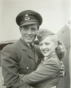 Tyrone Power and Betty Grable.in 'A Yank in the RAF' a WWII film.  jj