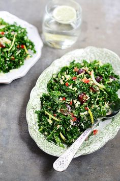 Shredded Kale & Quinoa Salad - with all kinds of goodies; champagne vinaigrette, grapes, sunflower seeds, manchego cheese and more! one of my fav salads.  LGO Hospitality salad I've had at Misfit in Santa Monica & Le Grande Orange in Pasadena.  Easy to make and a HIT!  in lieu of chervil, you can use tarragon; can also sub agave & honey.