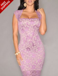 Light Purple Sleeveless Lace Dress www.ustrendy.com #UsTrendy