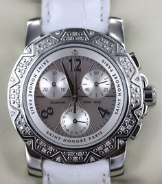 Luxstyle4u - Saint Honore Euphoria Chronograph Collection Watch with Diamonds in White, $3,190.00 (http://www.luxstyle4u.com/saint-honore-euphoria-chronograph-collection-watch-with-diamonds-in-white/)