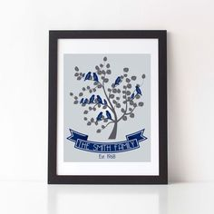 Personalized Family Tree Print  Family Name Art by StarbriteStudio