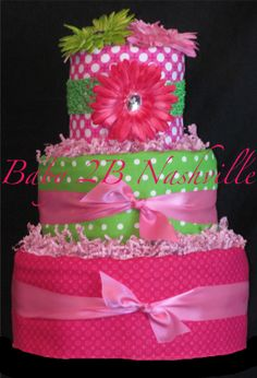 Girls Pink and Green Diaper Cake Baby Shower by Baby2BNashville, $130.00