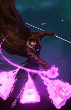 Remy Lebeau- Code name:Gambit-Mutant Abillities: Manipulation of potential energy and kinetic energy, enhanced physical abilities, Hypnotic Charm. Gambit Marvel, Gambit X Men, Rogue Gambit, Comic Book Characters, Comic Character, Comic Books Art, Comic Art, Marvel Comics Art, Anime Comics
