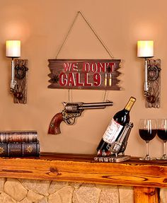 With Pistol Home Decor Essentials, you can show your appreciation for classic firearms along with your sense of humor. Each piece incorporates a decorative pistol into its design. The Wall Sconce makes a great addition to any room
