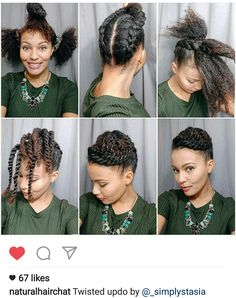 from - Twisted updo time! Separate hair into three sections. Braid the Natural Hair Updo, Natural Hair Care, Simple Natural Hairstyles, Professional Natural Hairstyles, Loose Hairstyles, Braided Hairstyles, Black Hairstyles, Dreadlock Hairstyles, Hairstyles 2016