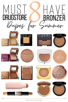 Get a gorgeous bronzed glow for a fraction of the price with these 8 must have drugstore bronzer dupes for summer. # makeup products 8 Must Have Drugstore Bronzer Dupes For Summer - Creativity Jar Best Drugstore Makeup, Drugstore Makeup Dupes, Best Makeup Products, Beauty Products, Bronzer Makeup, Make Up Products, Best Highlighter Makeup, Elf Dupes, Best Contouring Products