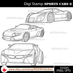 Sports Cars8/ Black & White /Digital Images/ Clipart Elements Set / 3 PNG/JPG / For Personal and Commercial use/ Clip Art/ Instant Download by REDWHALEart on Etsy