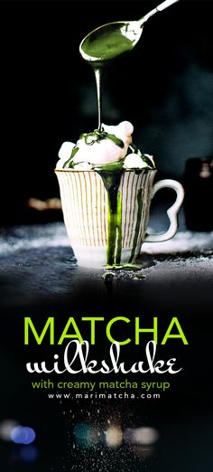 Creamy, nutty, and sweet, this Matcha Milkshake is overflowing with delicious Matcha-goodness! Plus, it's super easy to make! Top it with marshmallows and Matcha powder or add your own twist!   #matcha #matchagreentea #greentea #milkshake #syrup #marshmallows #creamy #icecream #antioxidants