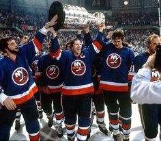 1983 Stanley Cup Champions: New York Islanders New York Islanders, Vancouver Canucks, Montreal Canadiens, Hockey Teams, Ice Hockey, Hockey Stuff, Denis Potvin, Hockey Highlights, Believe