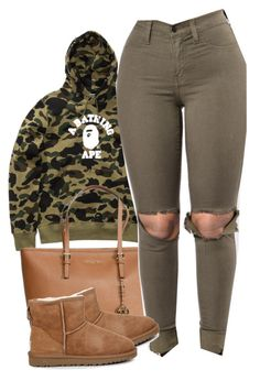 """Out my business"" by alexanderbianca ❤ liked on Polyvore featuring A BATHING APE, Michael Kors and UGG Australia"