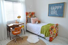 Love the upholstered bed and that floor is beautiful !!!    Great teen room !!
