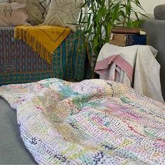 Kantha throw's age is evident with a look and feel of something that only time can create. Utilizing around six layers of cotton sari cloth it feels like Kantha Quilt, Quilts, Romantic Picnics, Queen Size Bedding, Vintage Textiles, Vintage Bohemian, Floral Design, Feels, Layers