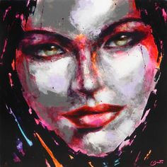 Berto – 773 – 100x100cm Portraits, Les Oeuvres, Contemporary Art, Artwork, Painting, Woman Face, Contemporary, Canvas, Artist