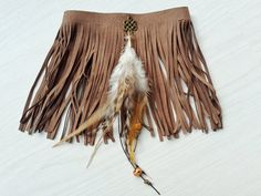 Brown suede armlet upper arm bracelet with fringes and feathers from SpectralStories
