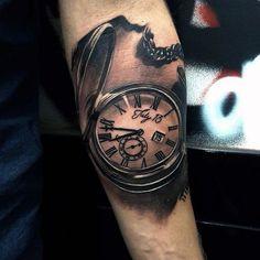 Mens Badass Realistic Pocket Watch Forearm Quarter Tattoo Sleeve