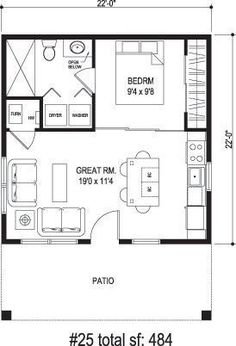 Sidekick Homes - One Tree, 484 sq. ft. Incredibly efficient layout.: