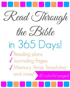 Read the entire Bible through from cover to cover in 2016 with this free printable pack of 40 colorful pages: with reading plans, journaling pages & more!