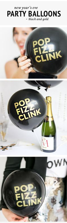 New Year's Eve Party Balloons! Nothing says happy new year like @flairexchange POP FIZZ CLINK balloons. Simply inflate balloons with a hand pump or have your local party store inflate them with helium.