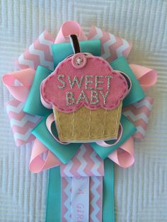 Cupcake Baby Shower Corsage / Mums Sweet Baby Corsage Its a Girl   on Etsy