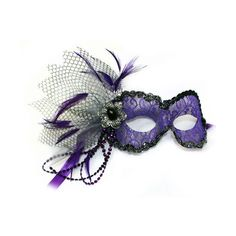 Purple Lace Masquerade Mask for Women ❤ liked on Polyvore featuring costumes, masquerade halloween costumes, ball costume, masquerade costume, purple costumes and lady costumes