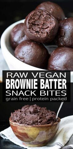 Raw brownie bites made in minutes, packed with protein and a perfect after school snack! The nut-free option makes this the ultimate allergy friendly treat. via snacks Raw Vegan Protein Packed Brownie Batter Bites Desserts Végétaliens, Raw Vegan Desserts, Raw Vegan Recipes, Vegan Dessert Recipes, Vegan Treats, Vegan Foods, Whole Food Recipes, Vegan Raw, Snack Recipes