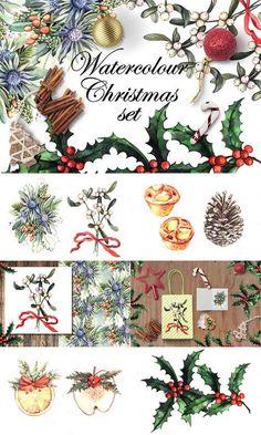 Watercolour Christmas set - 448402