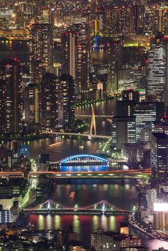 A river dances through the night lights of the city! Sumida River - Tokyo, Japan