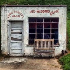 "1. Abandoned 'Jail and Wedding' Chapel A tiny, abandoned building has ""Jail and Wedding Chapel"" painted on its front in old-styling lettering as a modern-day roadside photo-op in North Carolina. Very Marfa, Texas. Found on Flickr/ Roadside America."