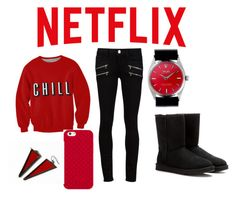 """""""Movie Night"""" by ccee ❤ liked on Polyvore featuring Paige Denim, UGG Australia, Tory Burch and Rolex"""