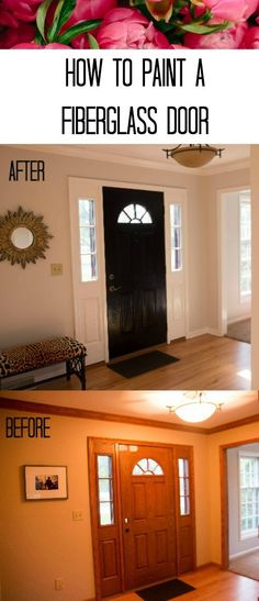 Do you have an ugly front door? Me too! But it was nothing that some paint couldn't change! In this step-by-step I take you through the process of painting a fiberglass door and surround, and how to paint oak trim. Filled with tips and tricks from my experiences! Click through to read about this DIY transformation and more at All Things Big And Small Blog!