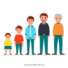 White man in different ages with flat de. Boy Character, Character Design, Human Life Cycle, Character Template, Small Boy, Girl Reading, Vector Photo, Baby Play, Life Cycles