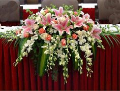 red roses arrangements for wedding church - Google Search