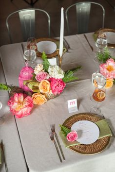 Bright tablescape: http://www.stylemepretty.com/living/2015/01/20/a-baby-shower-inspired-by-a-favorite-book/ | Photography: Brett Hickman - http://bretthickman.com/