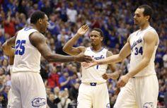 Tarik Black, Wayne Seldan, Perry Ellis Kansas basketball v. Oklahoma   KUsports.com