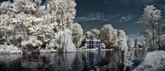 Panoramic infrared image of mansion on Vecht river near Breukelen Images Of Mansions, Panoramic Images, Holland, Mount Rushmore, River, Mountains, Nature, Outdoor, Beautiful