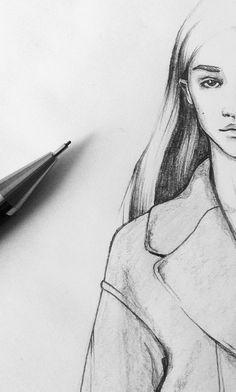 Fashion illustration - pencil sketch, fashion drawing // Maria Van Nguyen