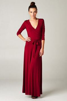 NEW Very On Trend Paris 3/4 Sleeve Long Maxi Wrap Dress Solid Cranberry S M L XL