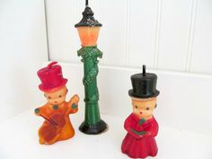 Vintage Christmas Candle ~ Gurley Carolers and Lamp Post