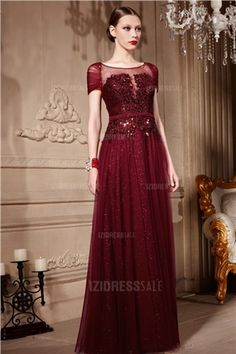 A-Line/Princess Jewel Floor-length Sequined Tulle Prom Dress