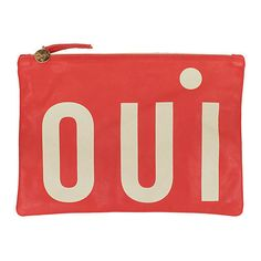 Oui Flat Clutch Poppy Clutches & Evening Bags (€180) ❤ liked on Polyvore featuring bags, handbags, clutches, poppy, evening handbags, red clutches, red leather handbag, leather clutches and red purse