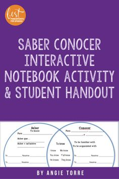 Spanish Saber and Conocer Interactive Notebook Activity and Student Handout Spanish Interactive Notebook, Interactive Notebooks, Ap Spanish, Spanish Lessons, French Teacher, Lesson Plans, Sentences, Vocabulary, Students