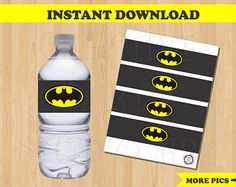 Batman Water Bottle Labels/ Batman Drink Label/ Batman Birthday/ Batman Party favors/ Wrappers/ Batman Stickers/ Batman Party Decorations