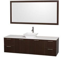 Wyndham Collection Amare 72 inch Single Bathroom Vanity in Gray Oak with White Man-Made Stone Top with Black Granite Sink, and 70 inch Mirror