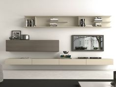 Sectional wall-mounted TV wall system I-modulArt - 283 by Presotto Industrie Mobili design Pierangelo Sciuto