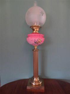 ANTIQUE VICTORIAN (C1890) OIL LAMP-PINK & CRANBERRY GLASS FONT-FINE ETCHED SHADE #ArtNouveauArtDecoVictorian #Lamps