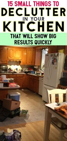 Declutter Your Kitchen Clutter FAST By Purging These 15 Items Kitchen Clutter SOLUTIONS! Let's talk about how to get rid of kitchen stuff and WHAT kitchen stuff to get rid of for a tidy kitchen. Don't just HIDE kitchen clutter, throw AWAY this list o Clean Kitchen Cabinets, Tidy Kitchen, Messy Kitchen, Hidden Kitchen, Kitchen Items, Kitchen Hacks, Kitchen Flooring, Rustic Kitchen, Cupboards