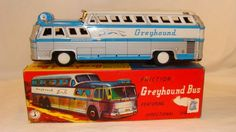 RARE VINTAGE 1950's HS JAPAN TIN FRICTION GREYHOUND SCENICRUISER BUS w/ORIG. BOX #HSFRANKONIA