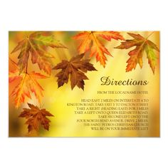 Fall Wedding Direction Cards with Falling Leaves