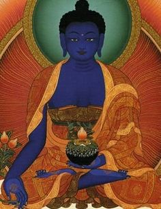 Bhaisajyaguru- Buddhism myth: Buddha of the east and medicine. He cures suffering with the medicine of his teachings.