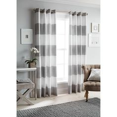 Gray striped curtains from Target.  For the playroom?